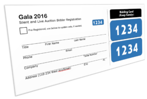 Sample bidder registration card with handy tear off bidder numbers
